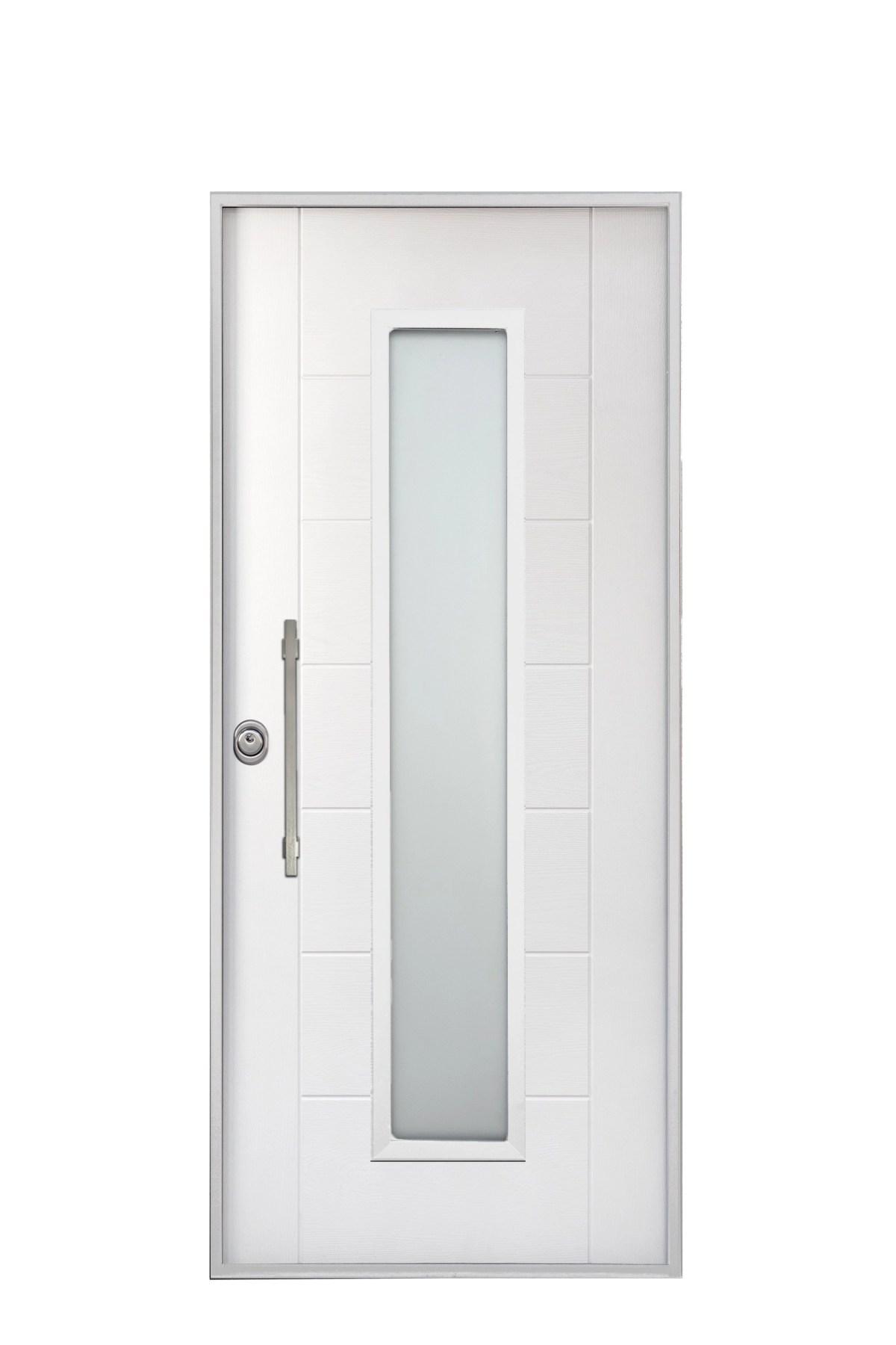 porta blindata con vetro moderna bianca