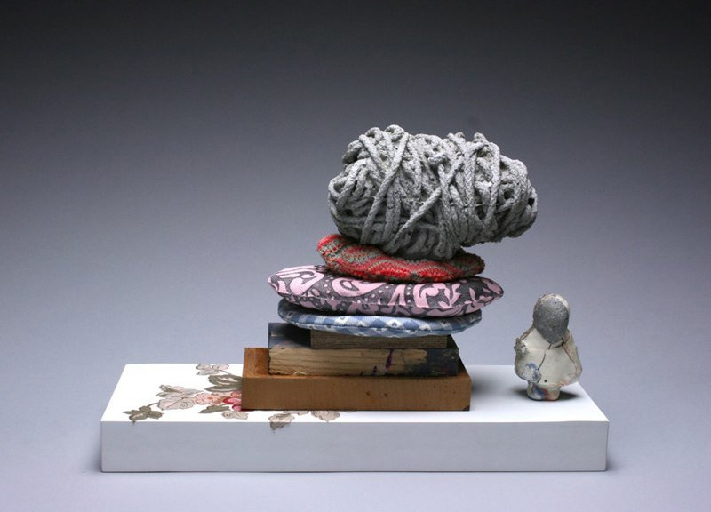 I'm Late  - Porcelain, Concrete, Plaster, Fabric, Altered Found Objects