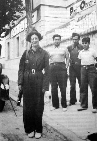 Simone Weil in Spagna, di ritorno dal fronte della guerra civile (1936).