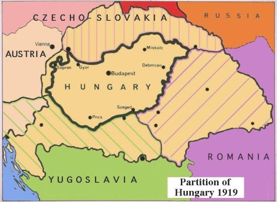 La divisione dell'Ungheria con il Trattato del Trianon
