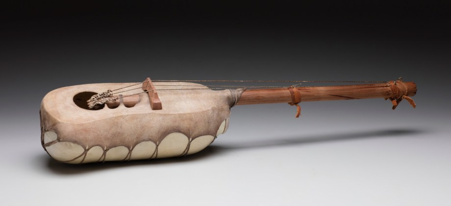 """29"""" x 7"""" x 6"""" Bleached Madrone Root, Rawhide, Leather, Gut String"""