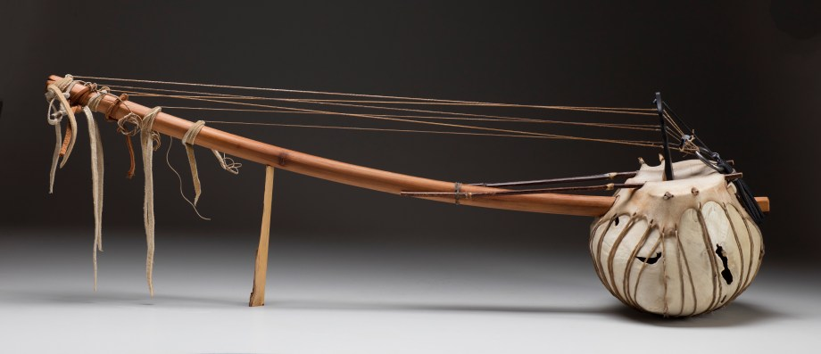 """40"""" x 9"""" x 11"""" Bleached Madrone Root, Yew, Blackwood, Bamboo, Rawhide, Leather, Shell Beads, Steel Ring, Goat Gut Strings"""