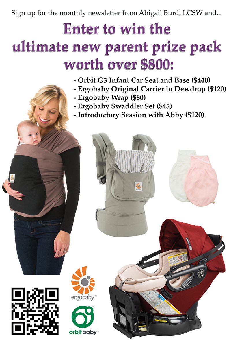 win the new parent pack from abigail burd, lcsw, ergobaby and orbitbaby