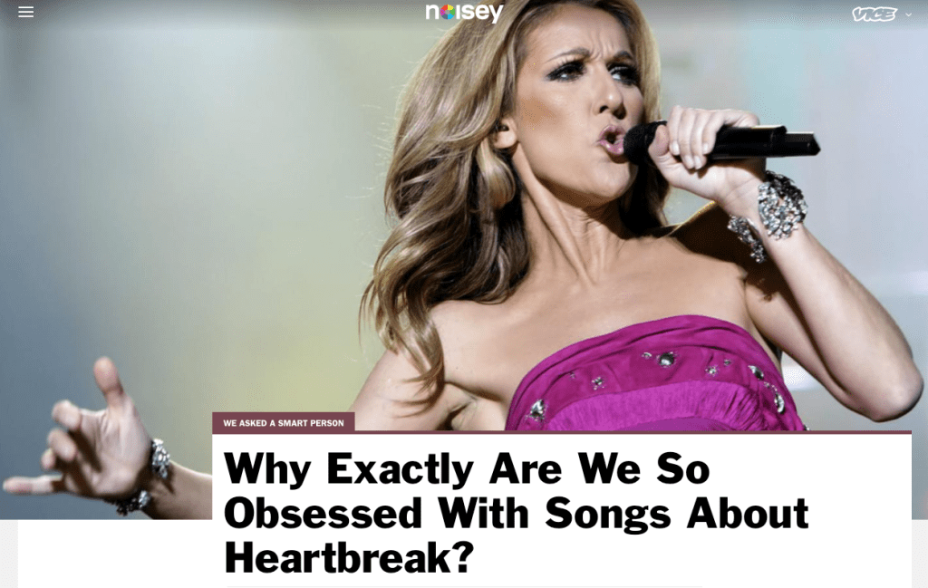 Noisy: Why are we so obsessed with songs about heartbreak?