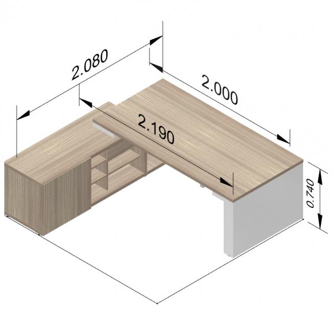bureau direction mito avec armoire desserte reglable en hauteur