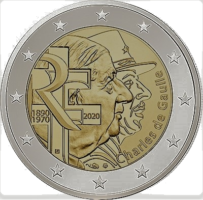 2 euros commémorative - Charles de gaulle France