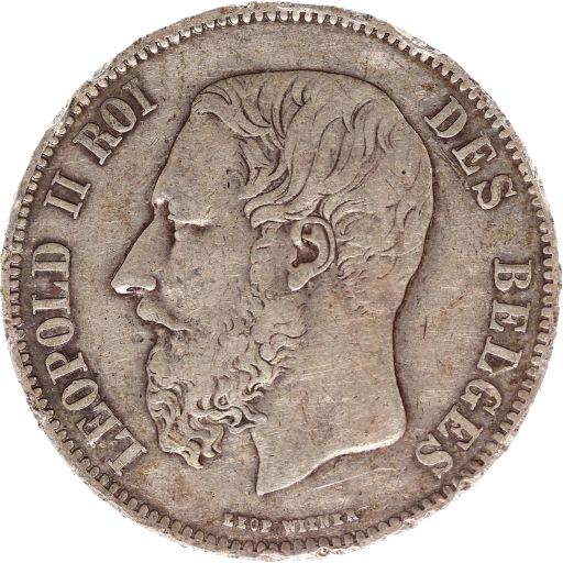 Pièce de 5 Francs de Léopold II en argent massif