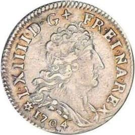 Pièce de 5 sols de Louis XIV en argent massif