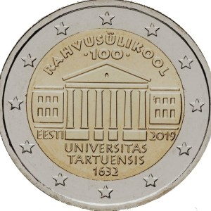 2 euros commémorative université de Tartu Estonie 2019