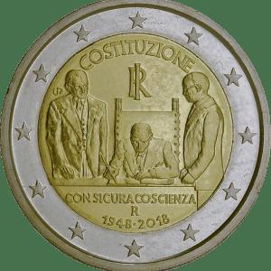 2 euros commémorative 70 ans constitution italienne 2018