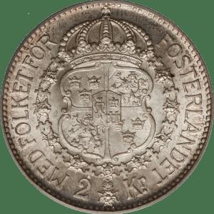 2 couronnes Gustave V roi de suède 2 kronor Gustaf V