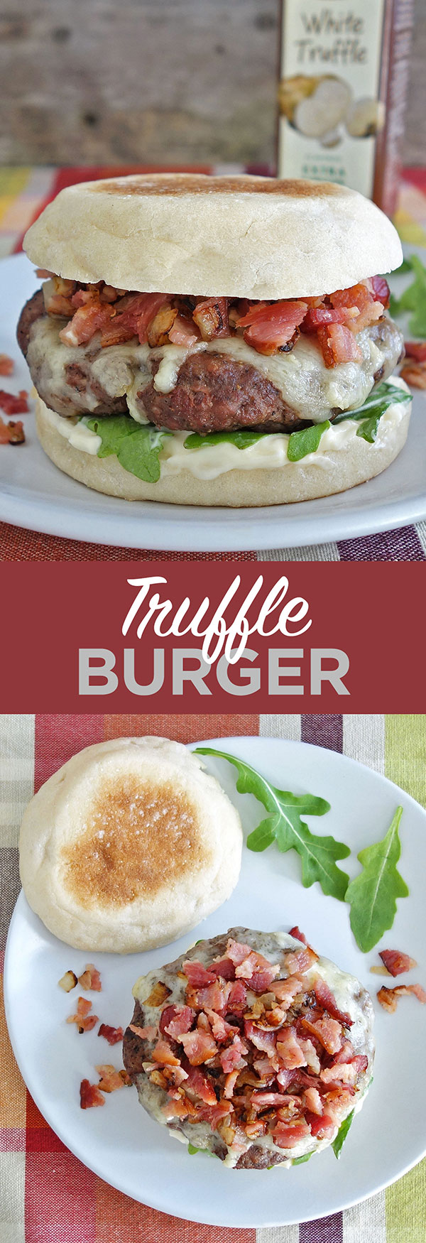 The truffle burger features the delicious flavor of truffle aioli and then is topped off with some diced bacon and onion.