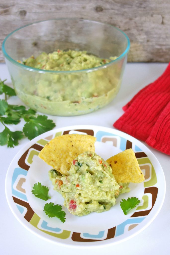 Fresh homemade guacamole recipe with roasted garlic.