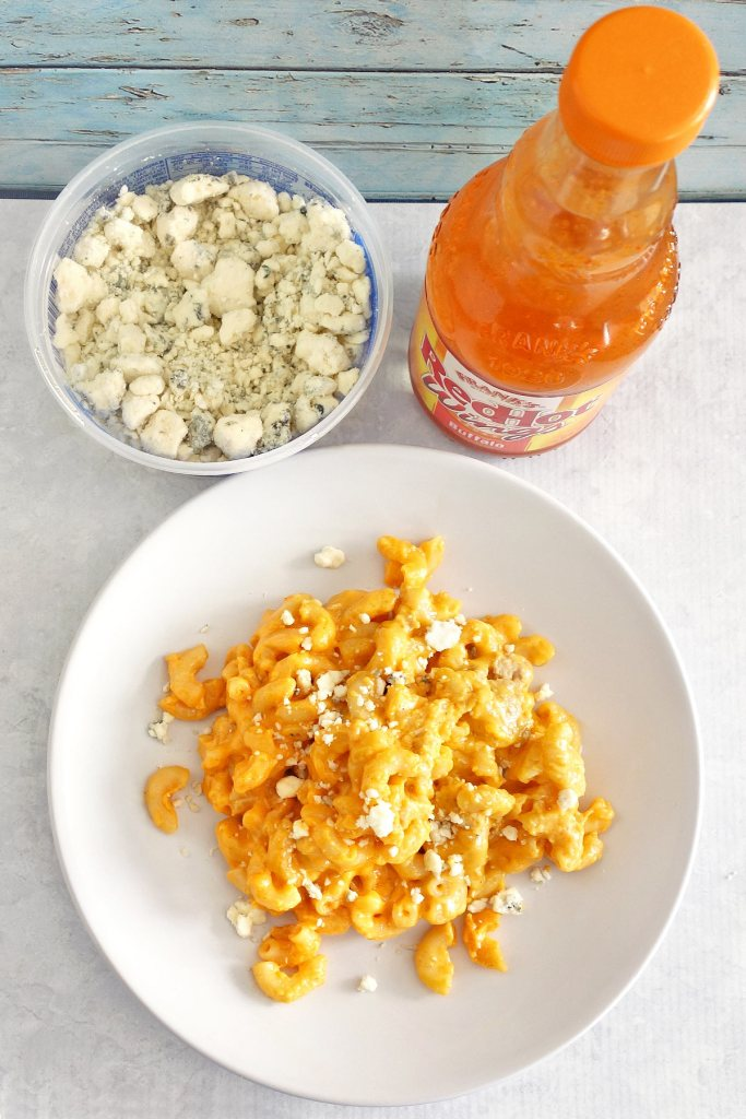 Buffalo chicken mac and cheese is an amazing size or main dish. Topped off with delicious blue cheese.