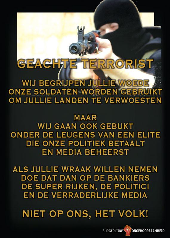 Terroristen - val niet ons aan maar de elite - Burgerlijke Ongehoorzaamheid