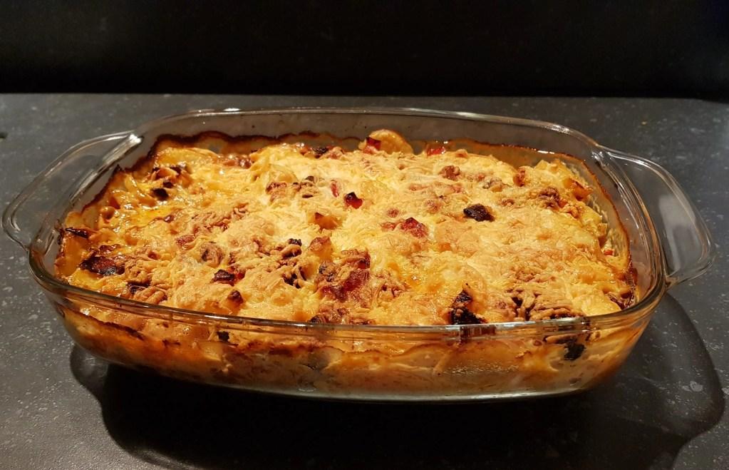 Aardappelgratin met chorizo, paprika en champignons - RECEPT
