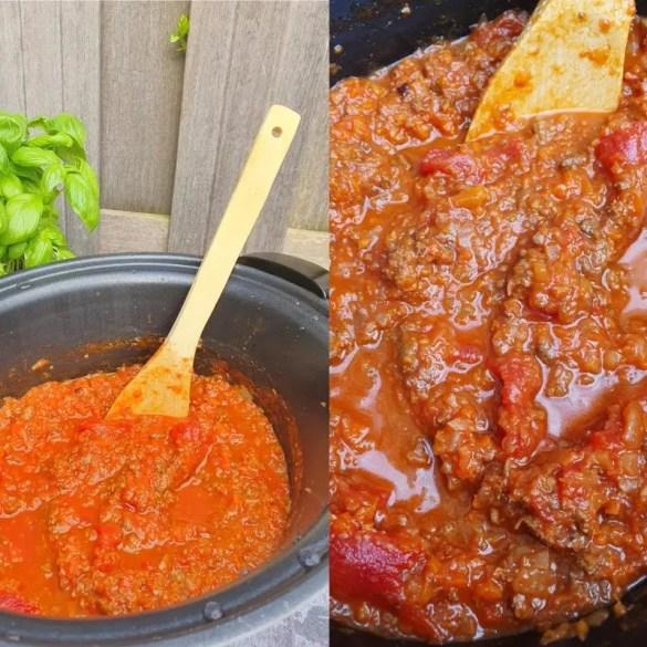 Rode pastasaus met gehakt uit de slowcooker recept