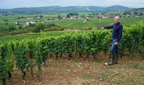 Frederic Weber of Bouchard Père at the top of Chevalier, Chassgne Remilly and the village of Chassagne over his right shoulder...