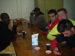 Younger guys having breakfast