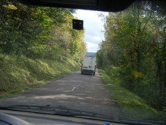 thro-van-windscreen-view-of-one-of-our-other-vans-descending-pretty-Hautes-Cotes