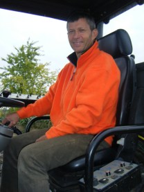 Super nice guy, self effacing, top bloke Christophe Roumier in tractor seat by Morey Clos de la Bussieres