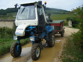 Domaine G Roumier's tractor transport of the boss