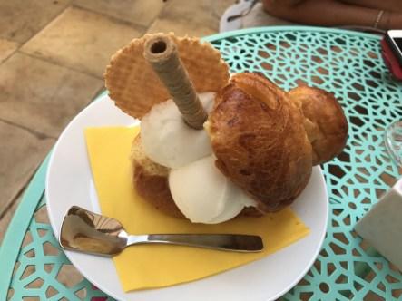 Brioche with ice-cream...