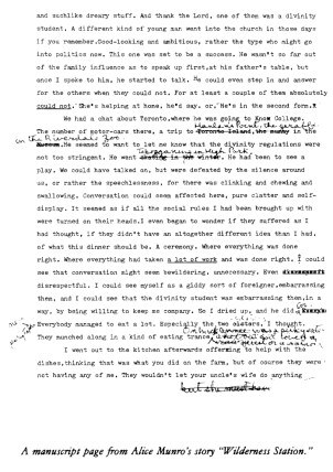 "Draft of Munro's ""A Wilderness Station"", via The Paris Review"