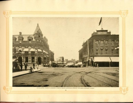 Ouellette Avenue and Sandwich Street, with the British American Hotel (the barbershop inside) on the left-hand side of the photograph