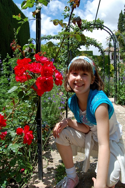 Kimmy at the Generalife Gardens, Granada
