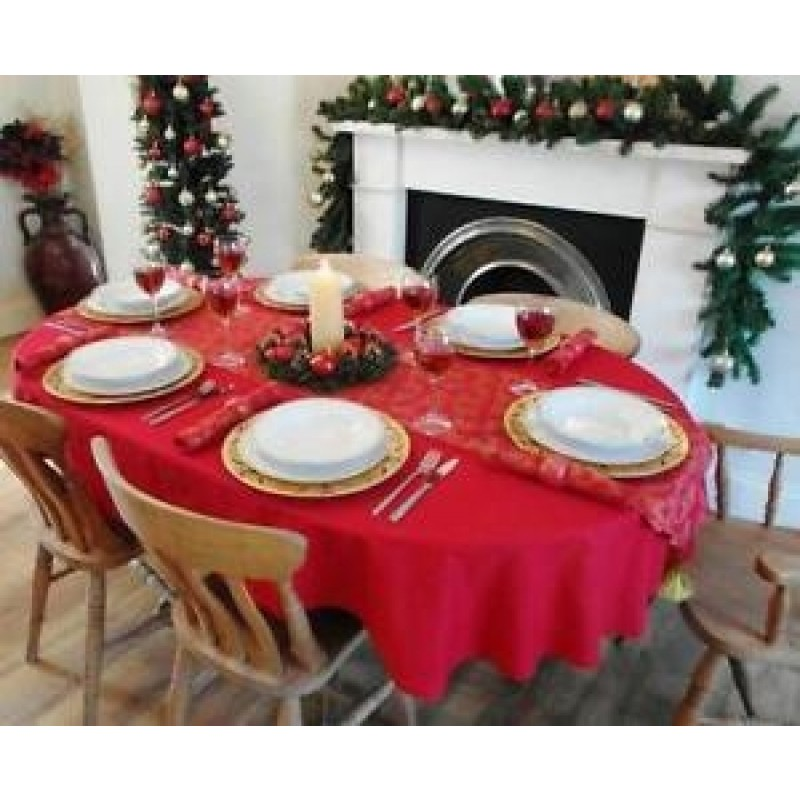 108 x 156 oval spun poly tablecloth