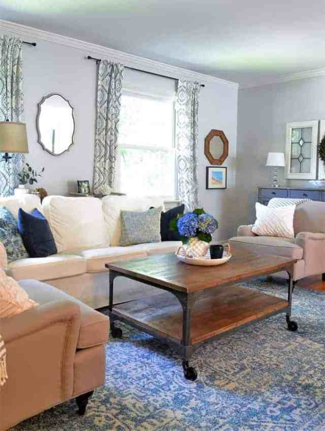 our updated living room {blue and white modern farmhouse ...