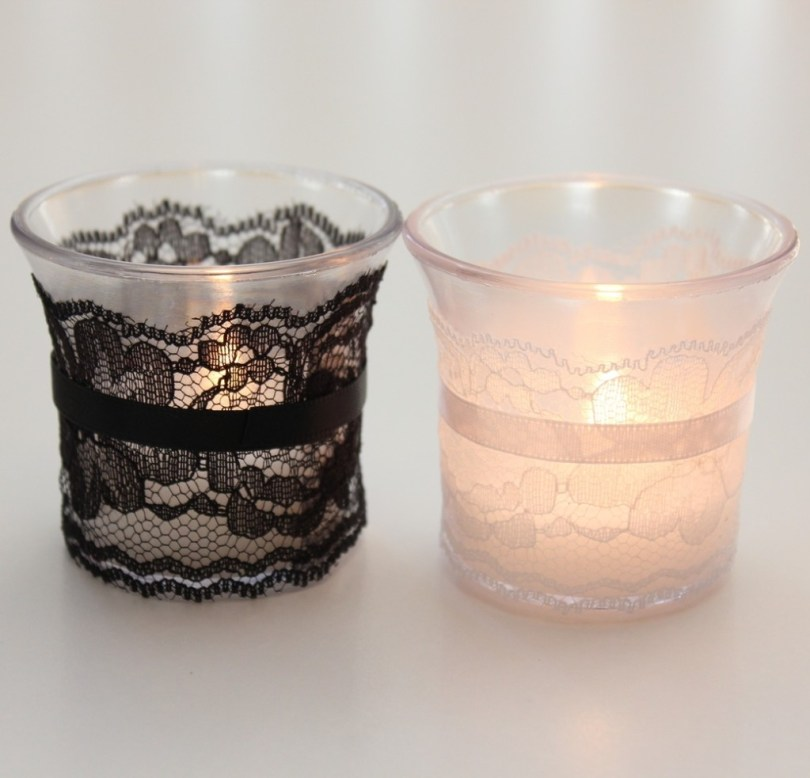 Chantilly Lace Wedding Candles