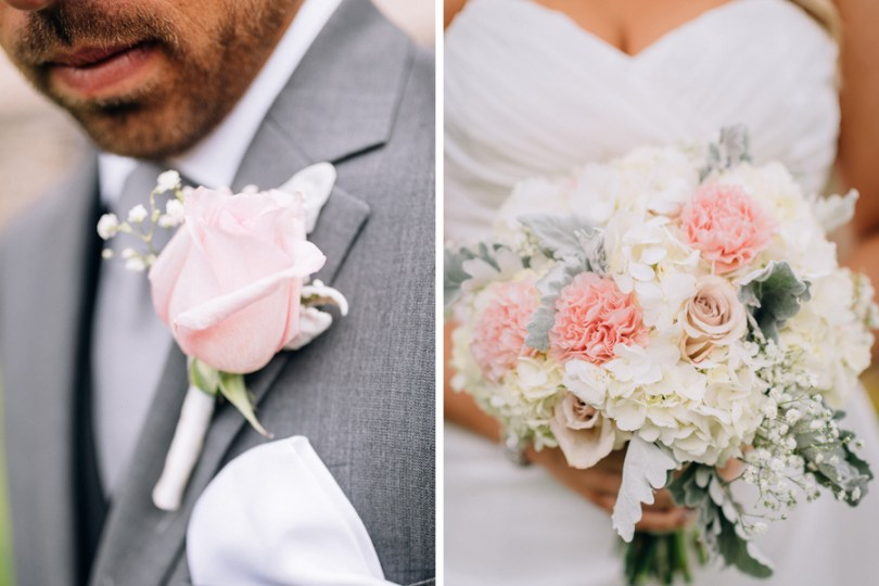 boutonniere and bouquet for a blush and gray wedding