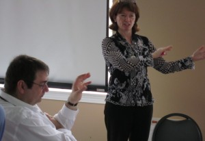 Roman Martiuk listened and when he had a contribution to make – he was always heard.  Here he communicates with Georgina Black during the Strategic Planning Sessions