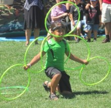 A 7 year old aboriginal boy demonstrated using hoops at the Brant Day event at LaSalle Park