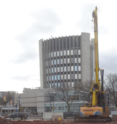 Drill dwarfs city hall