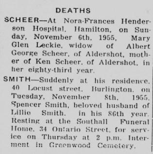 Pic 21 Spencer Smith Death Notice November 9 1955 P14, C3