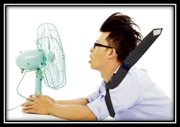 Student with fan