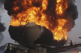 oil rail car on fire