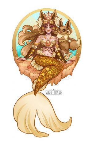 Artista desenha evoluções do Eevee como Sereias 25