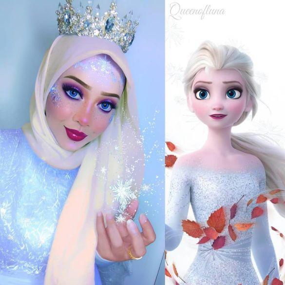 Maquiadora usa seu hijab e maquiagem para se transformar em personagens da Disney 16