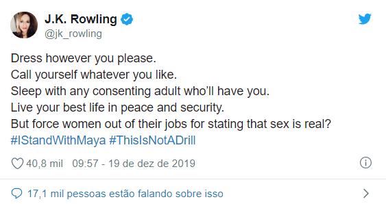 J.K. Rowling faz comentário transfóbico e vira um dos assuntos mais comentados do Twitter 17