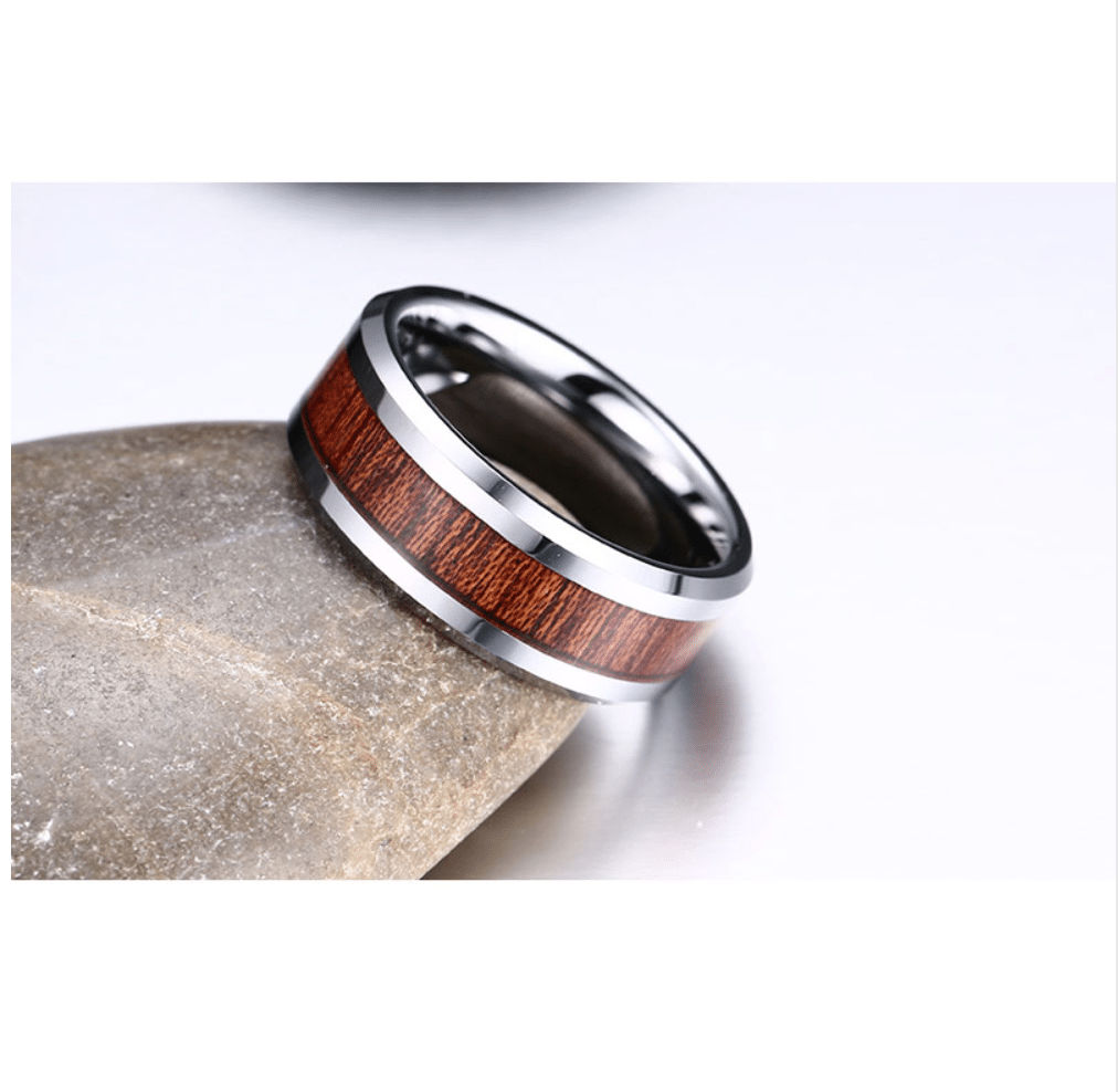 Mens Tungsten Carbide And Wood Grain Wedding Band Ring
