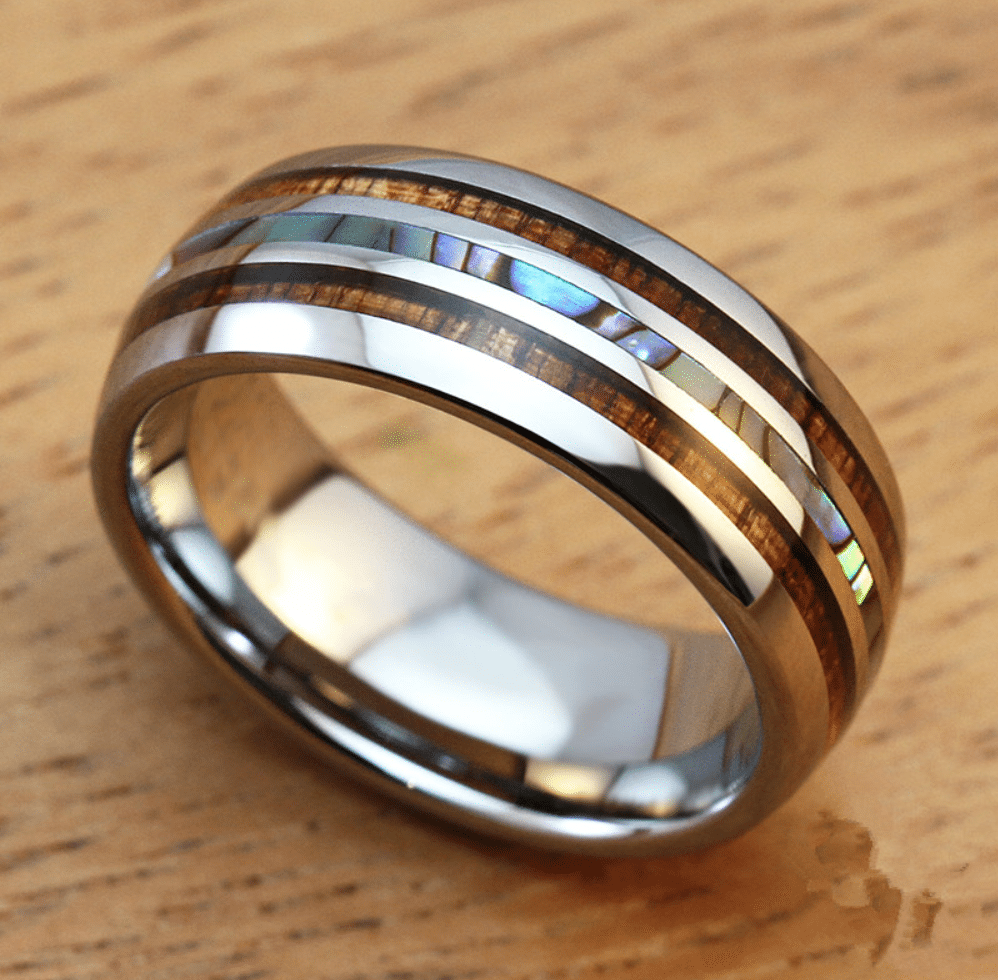 Mens 8mm Titanium Wedding Ring With Double Wood Amp Pearl