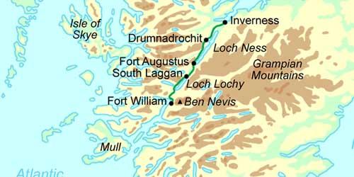 Great Glen Way Schottland Wandern Karte