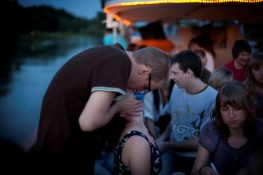 Wroclaw, Poland. A students' party on a pleasure boat.