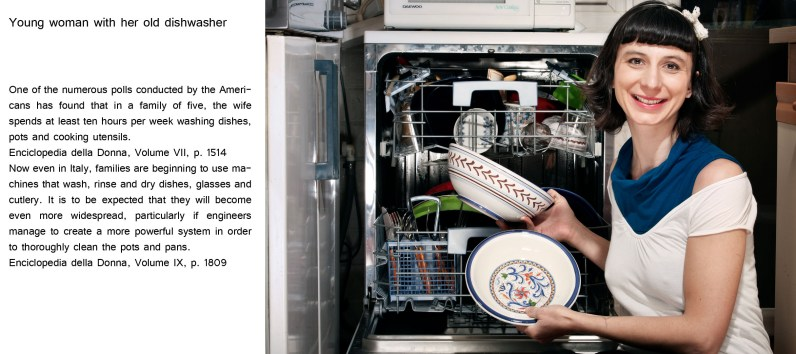Young woman with her old dishwasher