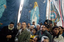 A christian ceremony in a temporary tent in the streets of moquattam.