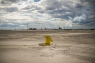 A scarecrow put in place to prevent waterfowl from landing in Oil Sands tailings ponds. According to a study published by Ecologist Dr. Kevin Timoney, an average of 1973 migratory birds are killed annually from Oil Sands tailings exposure.